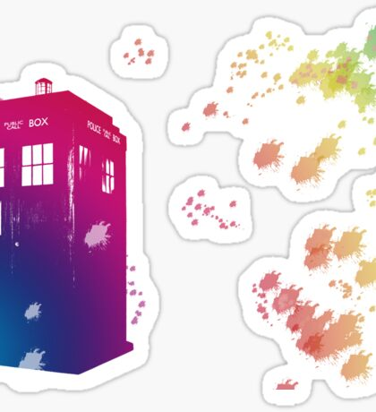 Doctor who - The Tardis in Watercolours ... Geronimo ! * laptop skins, and mugs added * Sticker
