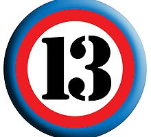 13, ROUNDEL, TEAM SPORTS, NUMBER 13, THIRTEEN, 13, THIRTEENTH, Competition, Lucky, Unlucky by TOM HILL - Designer