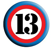 13, ROUNDEL, TEAM SPORTS, NUMBER 13, THIRTEEN, 13, THIRTEENTH, Competition, Lucky, Unlucky Photographic Print