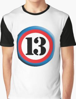 13, ROUNDEL, TEAM SPORTS, NUMBER 13, THIRTEEN, 13, THIRTEENTH, Competition, Lucky, Unlucky Graphic T-Shirt