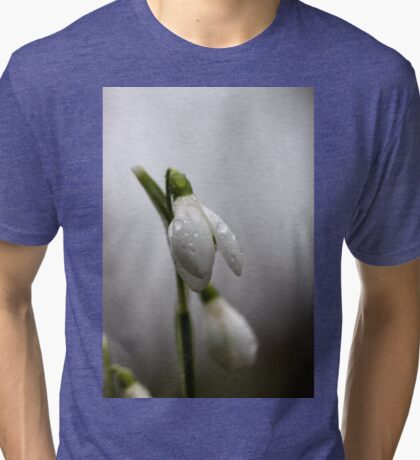 Snowdrops with raindrops Tri-blend T-Shirt