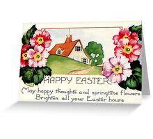 Happy Easter small village spring flowers scene Greeting Card
