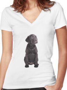 cute little black labrador retriever puppy Women's Fitted V-Neck T-Shirt