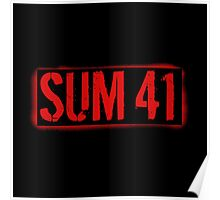 GREAT SUM 41 LOGO STENCIL RED Poster