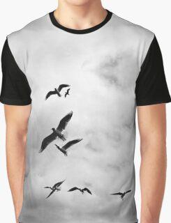 Flying Birds Black and white case pencil skirt legging scarf art Graphic T-Shirt