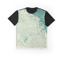 Buenos Aires Map Blue Vintage Graphic T-Shirt