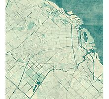 Buenos Aires Map Blue Vintage by HubertRoguski