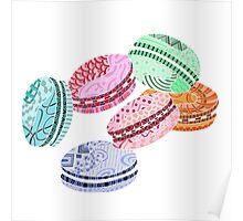 Colorful Macarons Zentangle Poster