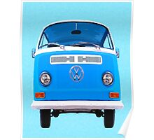 Vintage VW Bus On Blue Poster