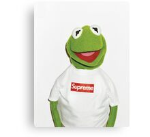 Kermit with Supreme Canvas Print