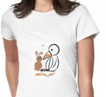 Penguin and bunny Womens Fitted T-Shirt