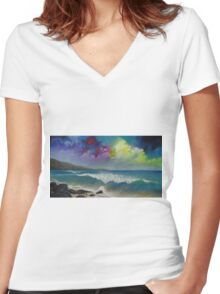Original colorful seascape painting with ocean waves and a bright bold stormy sky Women's Fitted V-Neck T-Shirt