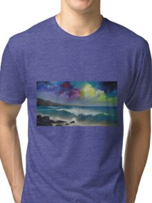 Original colorful seascape painting with ocean waves and a bright bold stormy sky Tri-blend T-Shirt