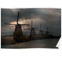 Dutch Windmills in Kinderdjik Poster