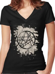 Necronomicon bleached Women's Fitted V-Neck T-Shirt