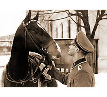 German Elite soldier and his Horse during WW2 Photographic Print