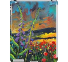 abstract landscape flower painting with colorful sky iPad Case/Skin
