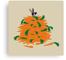 Cool bunny and carrots Canvas Print