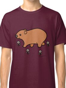 Walking Wombat with White Flowers Classic T-Shirt