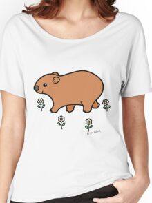 Walking Wombat with White Flowers Women's Relaxed Fit T-Shirt