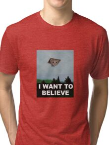 I Want To Believe - Kitty UFO Tri-blend T-Shirt