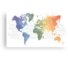 Walter Mitty Life Motto - World Map Canvas Print