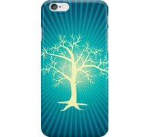 white tree with blue background iPhone Case/Skin