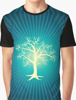 white tree with blue background Graphic T-Shirt