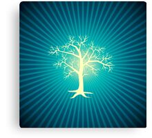 white tree with blue background Canvas Print