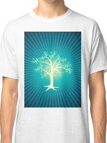 white tree with blue background Classic T-Shirt