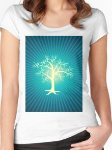 white tree with blue background Women's Fitted Scoop T-Shirt