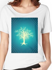 white tree with blue background Women's Relaxed Fit T-Shirt