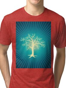 white tree with blue background Tri-blend T-Shirt