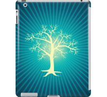white tree with blue background iPad Case/Skin