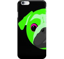 Lime Green Bright Pug Face Neon iPhone Case/Skin