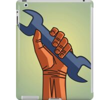 depicting a hand holding a wrench iPad Case/Skin
