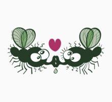 Ugly flies kissing and falling in love Kids Tee