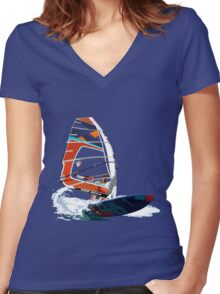 Surfing Women's Fitted V-Neck T-Shirt