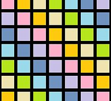 Pastel Rainbow Squares Black  by lornakay