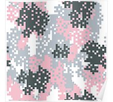 Pink Pixel Camouflage Poster