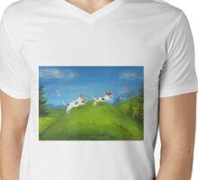 Jack Russells, morning run Mens V-Neck T-Shirt