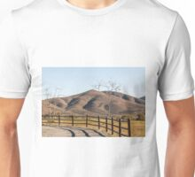 Two Trees, a Fence, and a Mountain Unisex T-Shirt