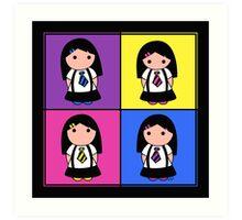 Tie Girl Kim Squared Art Print