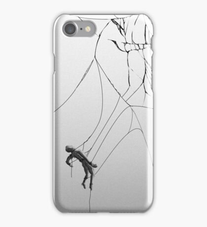 Man hanging from cracked display iPhone Case/Skin