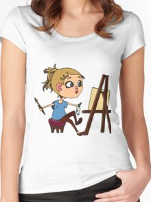 Artist at work Women's Fitted Scoop T-Shirt