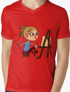 Artist at work Mens V-Neck T-Shirt