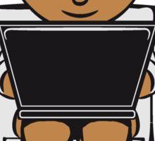 sitting wc little boy laptop Sticker