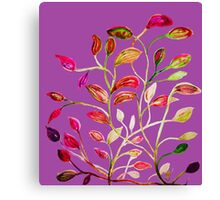 For Valentine's Day Enjoy Purple Plum, Red and Green Leaves! Canvas Print