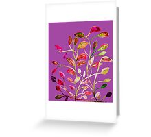 For Valentine's Day Enjoy Purple Plum, Red and Green Leaves! Greeting Card