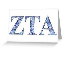 Zeta Tau Alpha Blue Plant Design Greeting Card